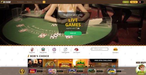 liveblackjack.nl casino review bob casino homepage screenshot