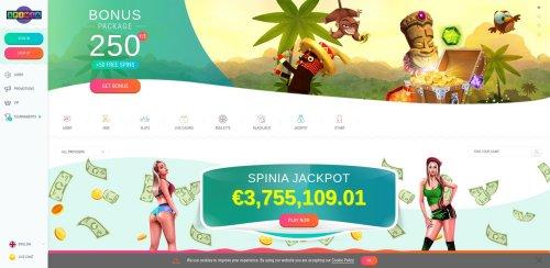 liveblackjack.nl casino review Spinia screenshot homepage