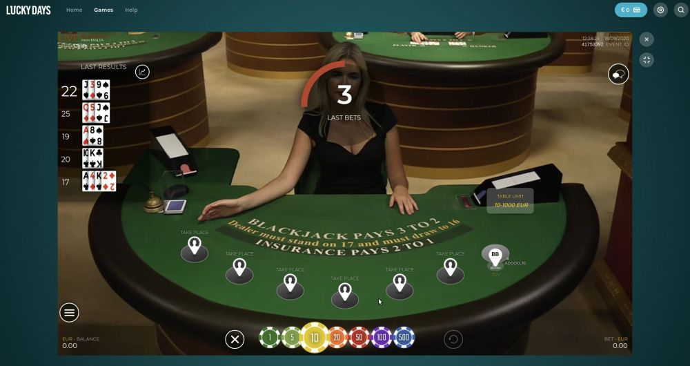 LiveBlackjack.nl Speel blackjack  LiveG24 bij Lucky Days online casino